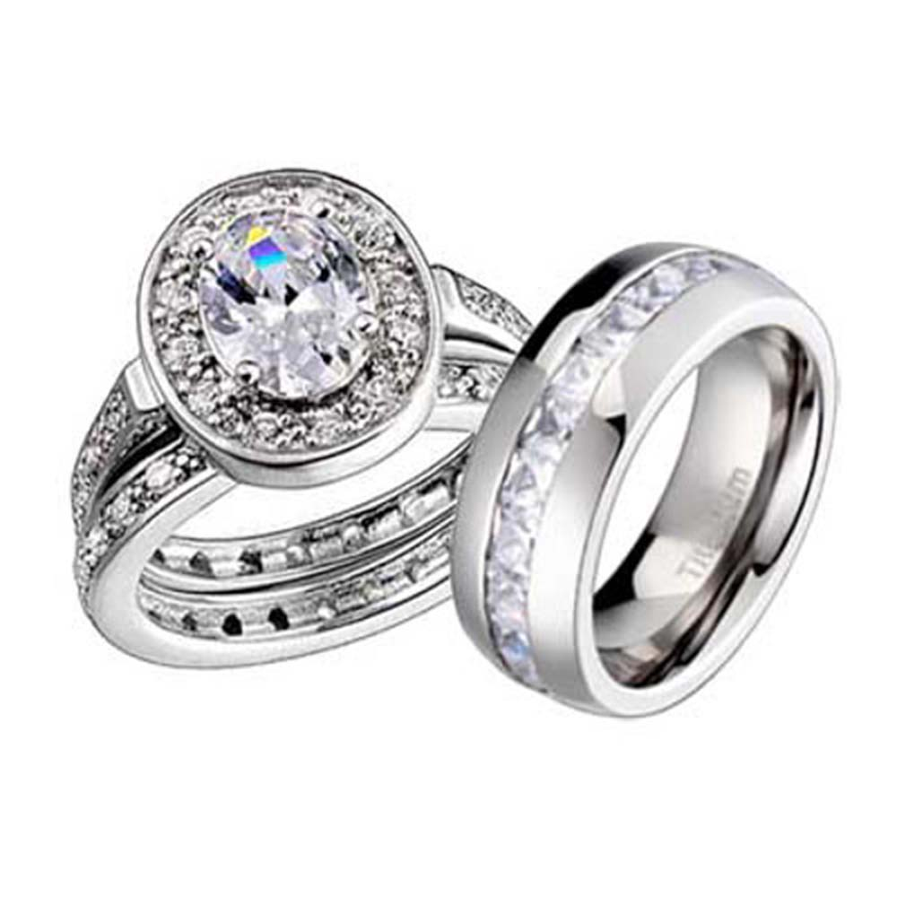 3 Pcs His Her Titanium Sterling Silver Wedding Matching