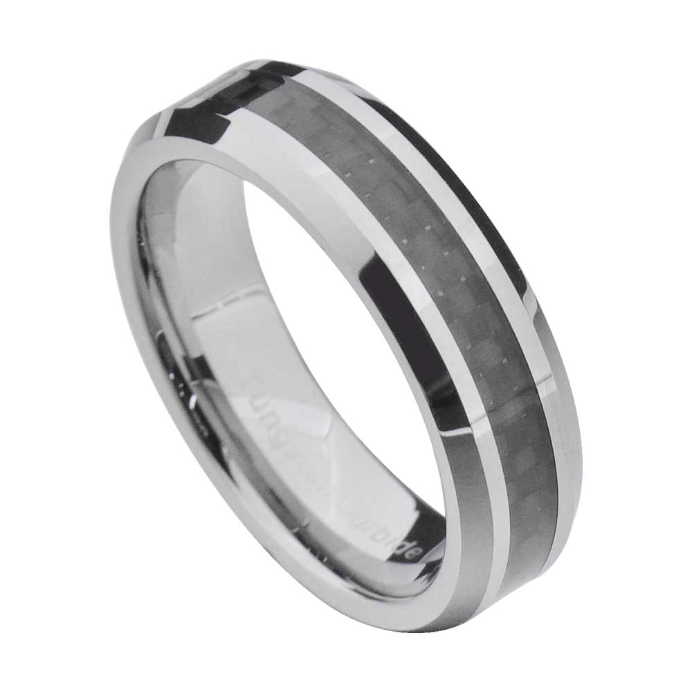 Details About 6mm Tungsten Jewelry Black Carbon Fiber Men's Wedding Band Ring: Wedding Rings Without Stones At Reisefeber.org