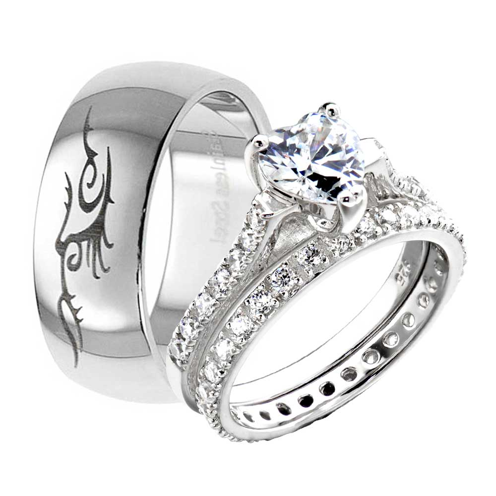 His Hers Wedding Rings 3pcs Engagement CZ 925 Sterling Silver