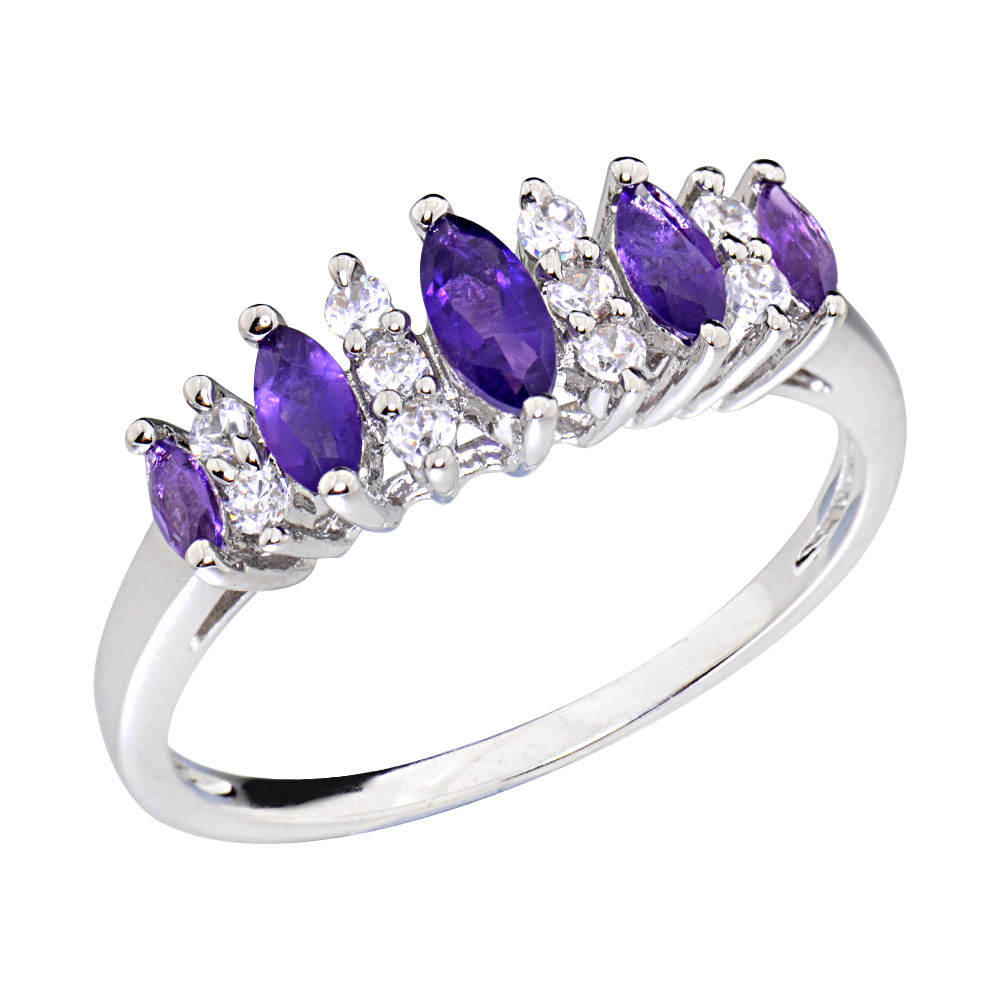 Women S Wedding Band Marquise Amethyst White Gold Plated