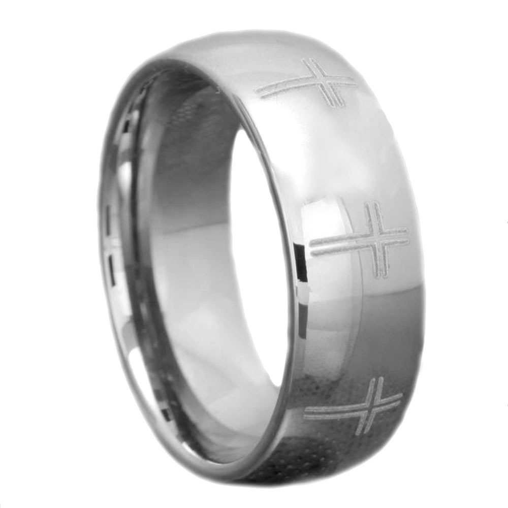 8mm Tungsten Silver Polish Domed Christian Cross Etch Men's Wedding Band Ebay: Black Tungsten Wedding Band Cross At Websimilar.org
