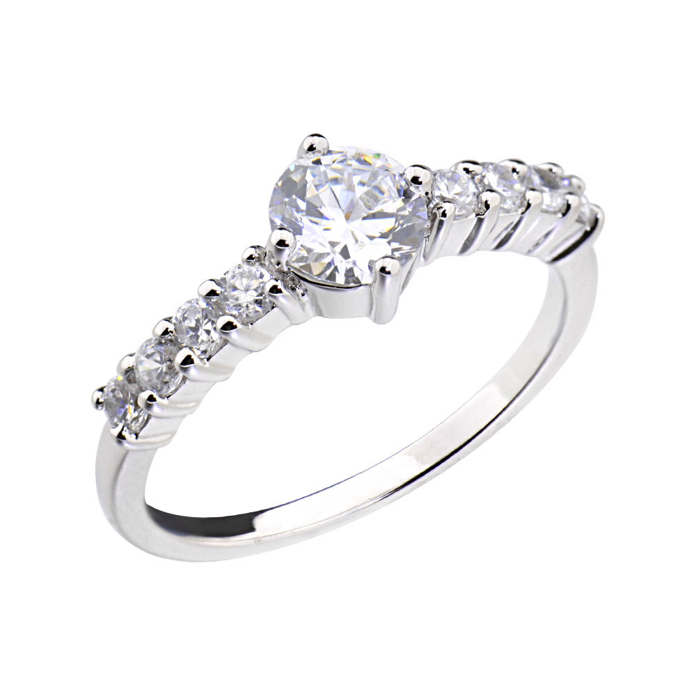 wedding band white gold plated round cz bridal promise engagement ring