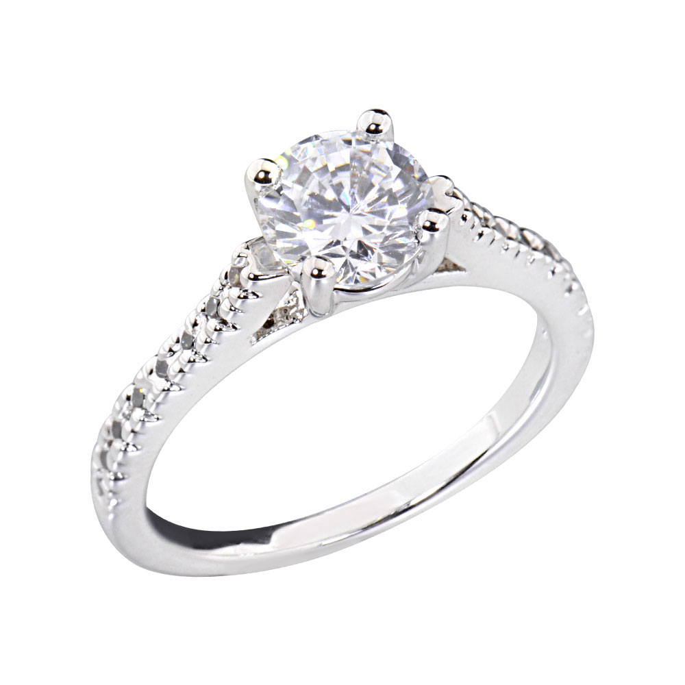 Women39s engagement wedding ring oval cz white gold plated for Cz wedding rings for women