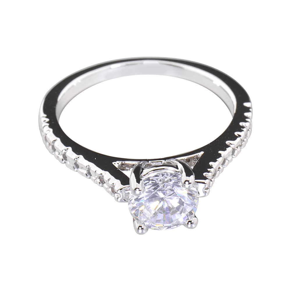 Women's Engagement Wedding Ring Oval CZ White Gold Plated