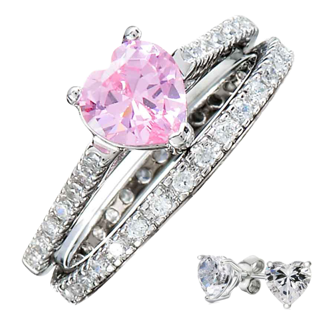 Sterling Silver 14k White Gold Heart Diamond cut Engagement Ring ...