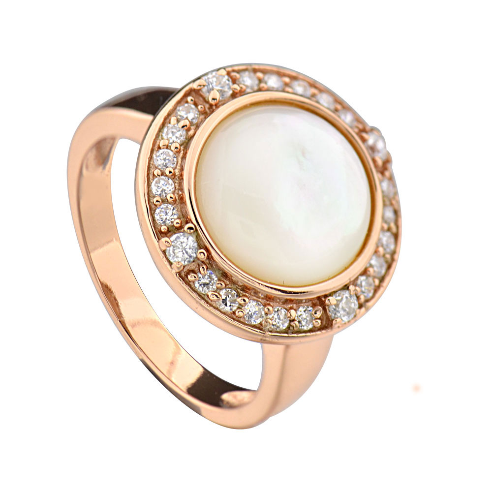 Rose Gold Plated Silver Mother of Pearl Halo Women's Jewelry