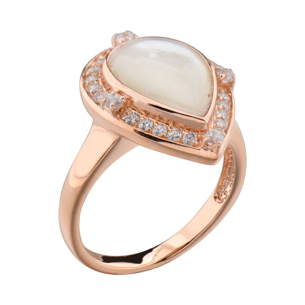 Rose Gold Plated Silver Pear Mother of Pearl Halo Women Jewe