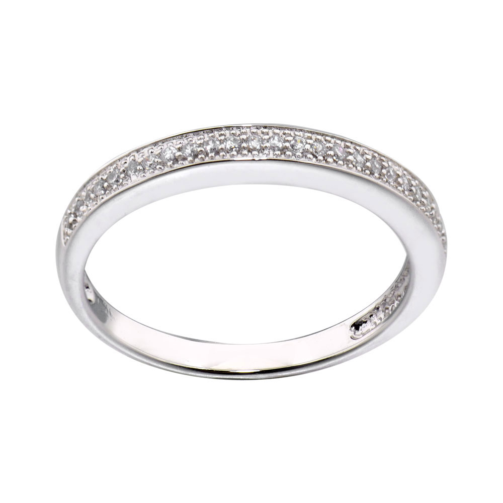 Sterling Silver Round CZ Eternity Women Jewelry Wedding Engagement Ring Guard