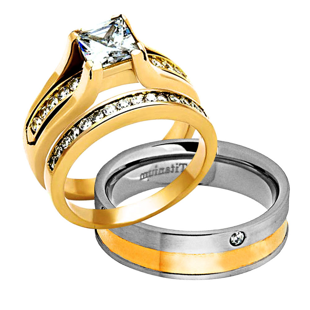 His Hers 3 Pc Gold Plated Stainless Steel Titanium Wedding Ring