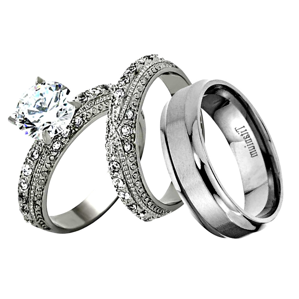 5b7dc47e6bb0c1 His Hers 3 Piece Men Women Stainless Steel Wedding Engagement Ring ...