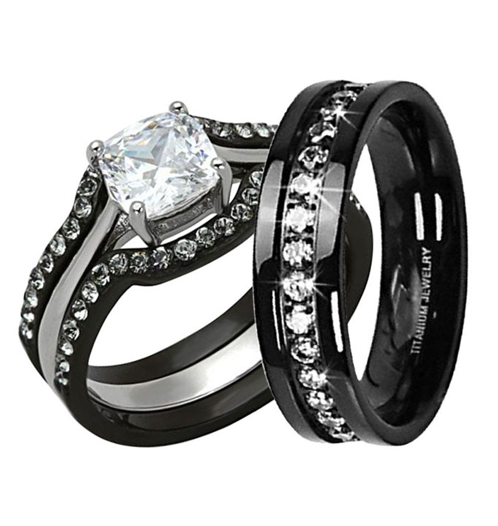 His Hers 4 Pc Black Stainless Steel Titanium Wedding Engagement Ring ...