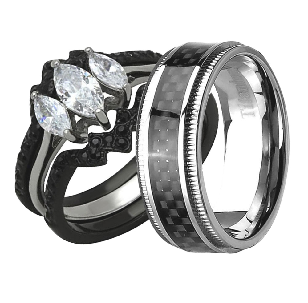 His Hers 4 Piece Wedding Ring Set AAA CZ Black IP Stainless Steel