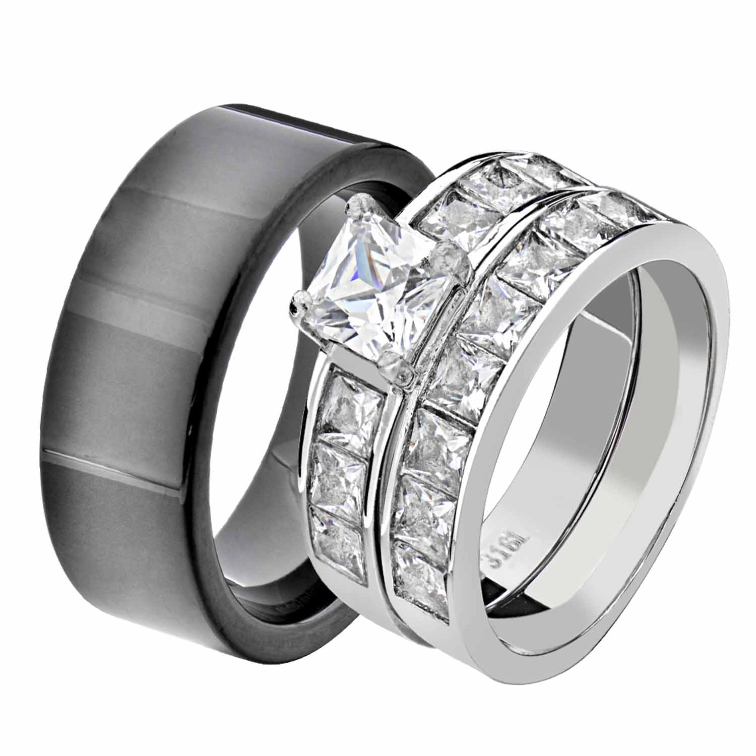 Details About His Hers Stainless Steel Princess Cz Wedding Ring Sets Tungsten Men Band Iw: Tungsten Wedding Band Sets For Women At Websimilar.org