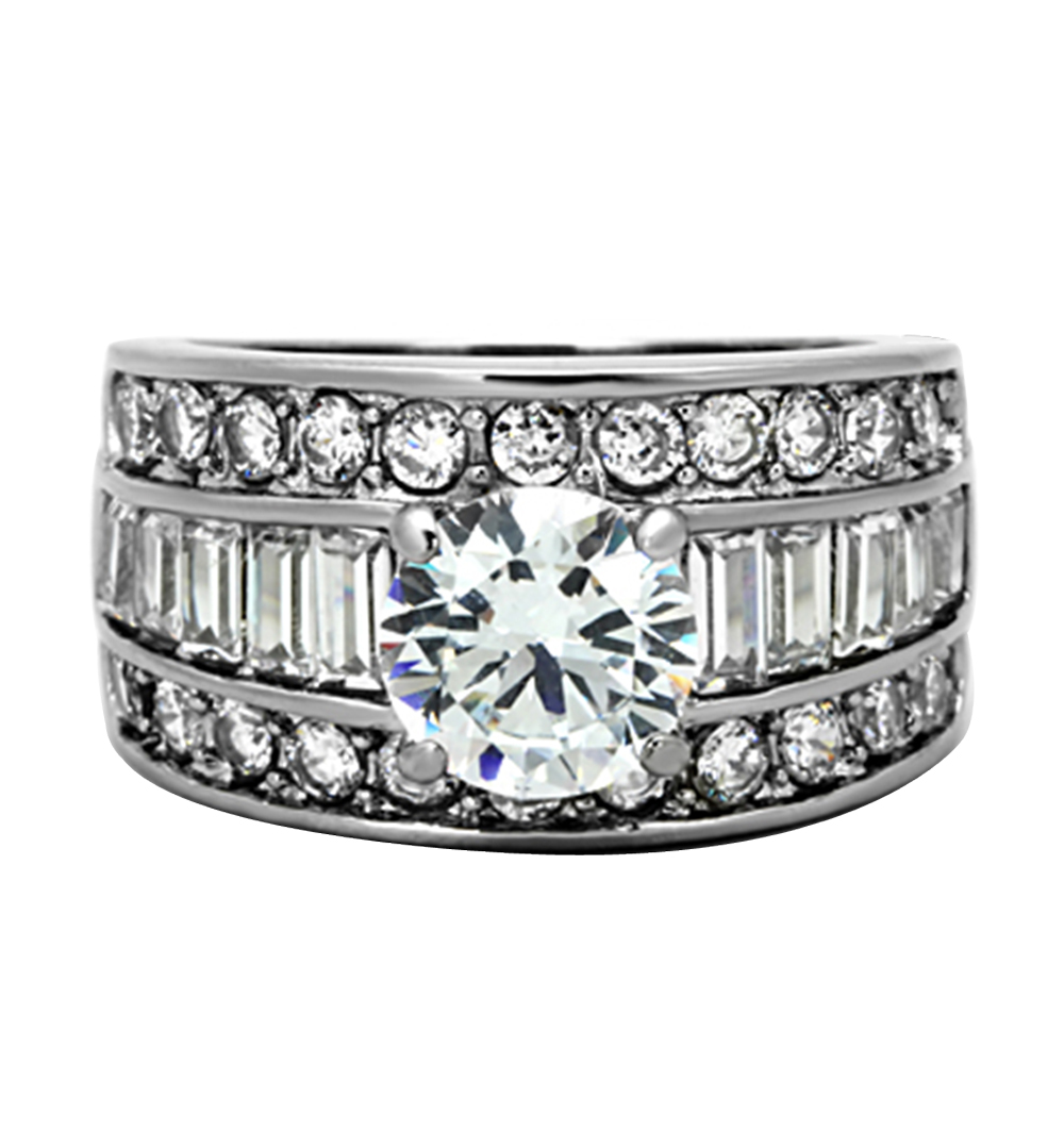 Stunning-Round-Cut-Cz-Stainless-Steel-Wide-Band-Engagement-Ring-Women-039-s-Sz-5-10 thumbnail 8