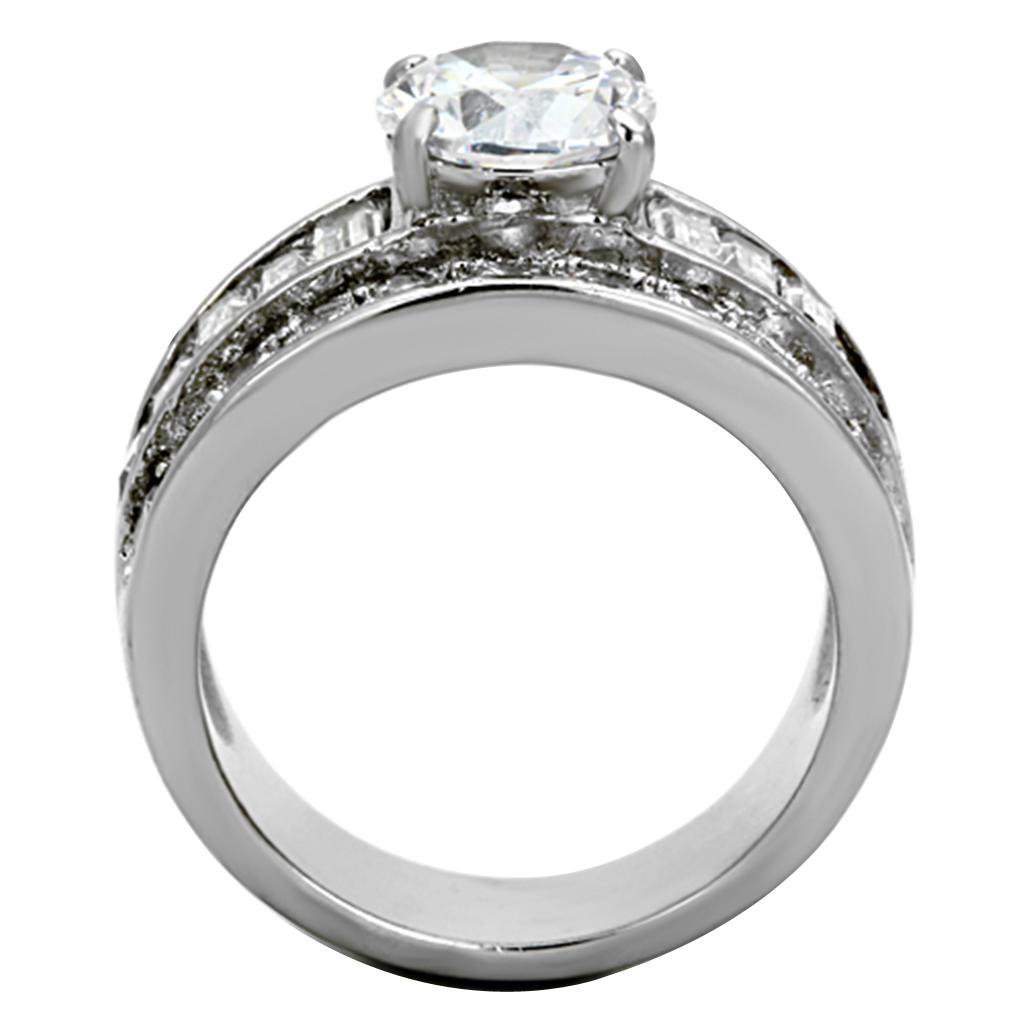 Stunning-Round-Cut-Cz-Stainless-Steel-Wide-Band-Engagement-Ring-Women-039-s-Sz-5-10 thumbnail 9