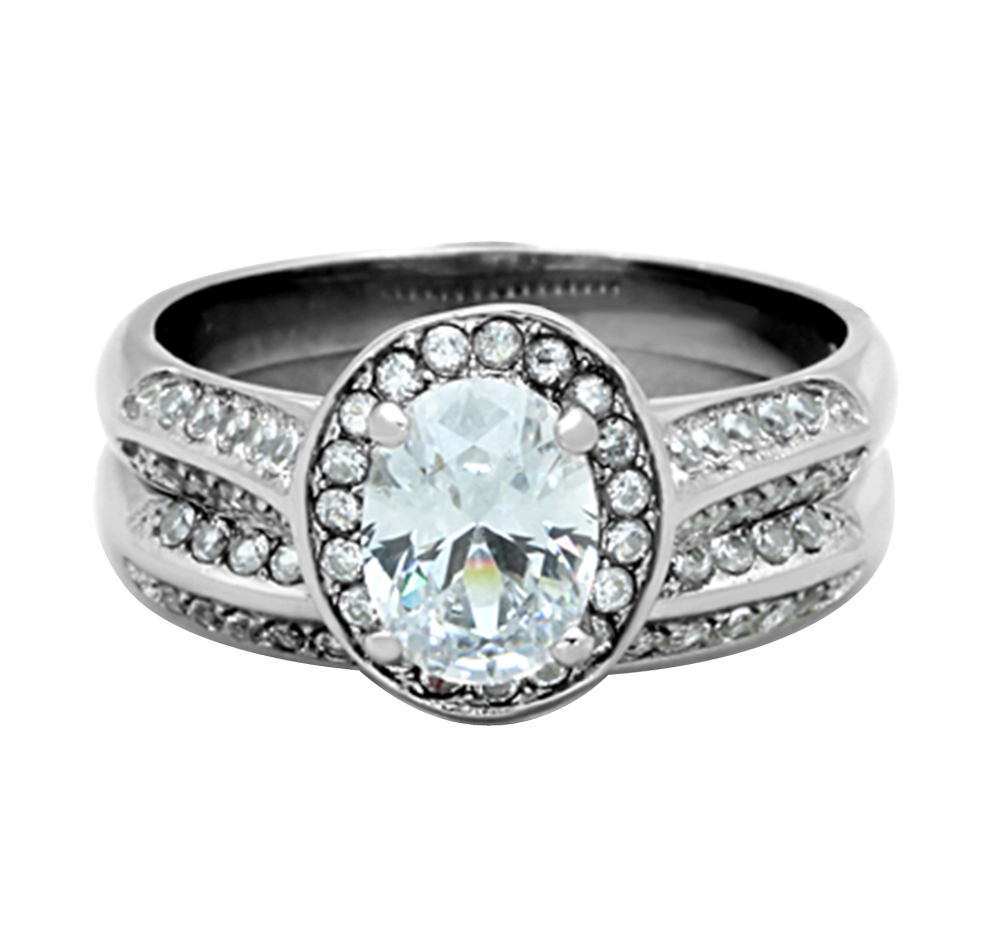 Women's Stainless Steel Oval Halo CZ Engagement Wedding 2