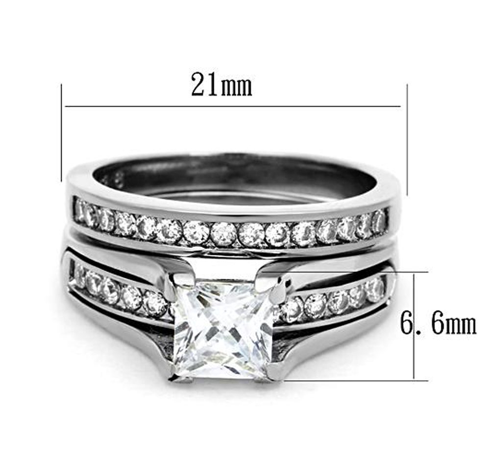 Womens-Stainless-Steel-Princess-Cut-Wedding-Engagement-Ring-Set-Size-5-11 thumbnail 11