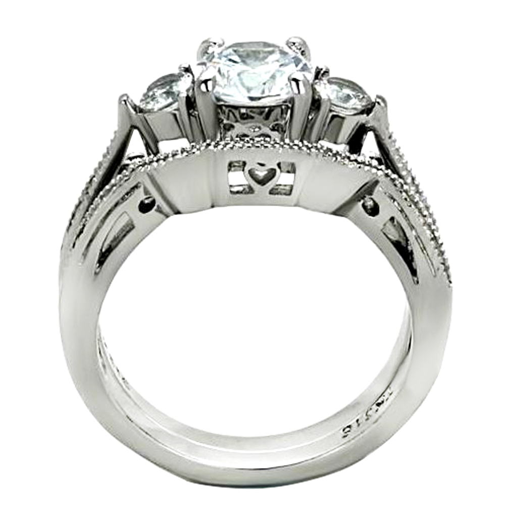 2-50-Ct-Round-Cut-AAA-CZ-Stainless-Steel-Wedding-Band-Ring-Set-Women-039-s-Size-5-11 thumbnail 10