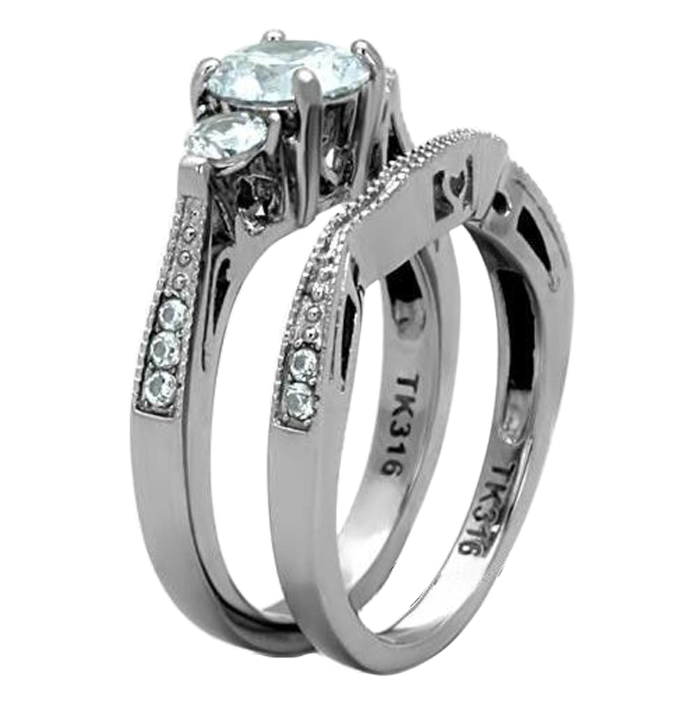 2-50-Ct-Round-Cut-AAA-CZ-Stainless-Steel-Wedding-Band-Ring-Set-Women-039-s-Size-5-11 thumbnail 11