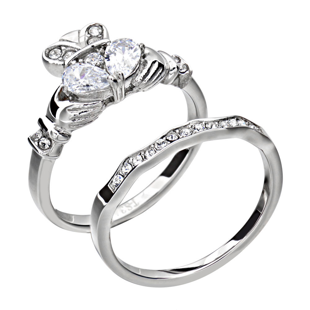 Wedding Rings Ireland Cheap: Women's Irish Claddagh Cubic Zirconia Stainless Steel