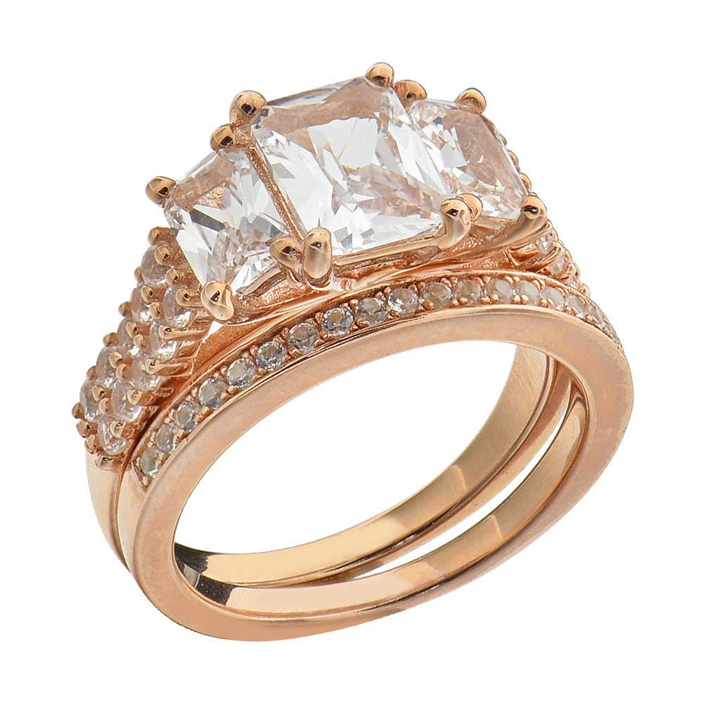 Details About Sterling Silver Rose Gold Radiant Diamond Cut Engagement Ring Wedding Set Gc: Silver Rose Ring Wedding At Websimilar.org