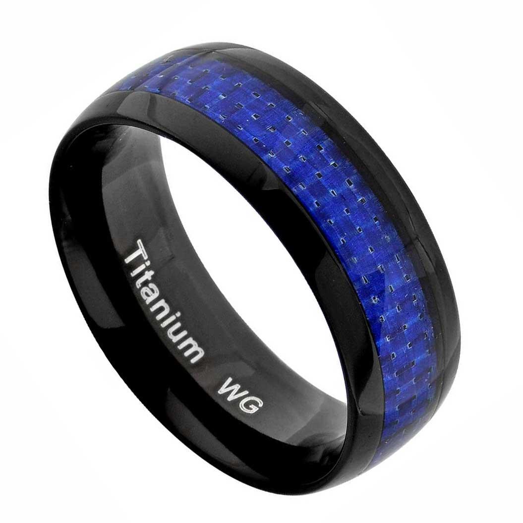 Titanium Men Wedding Band Ring Carbon Fiber Silver Black Green Red