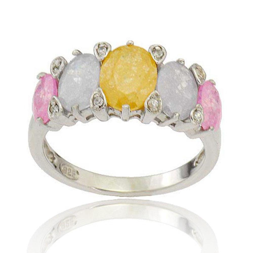 Sterling Silver Multi-Colored Oval CZ Women Jewelry