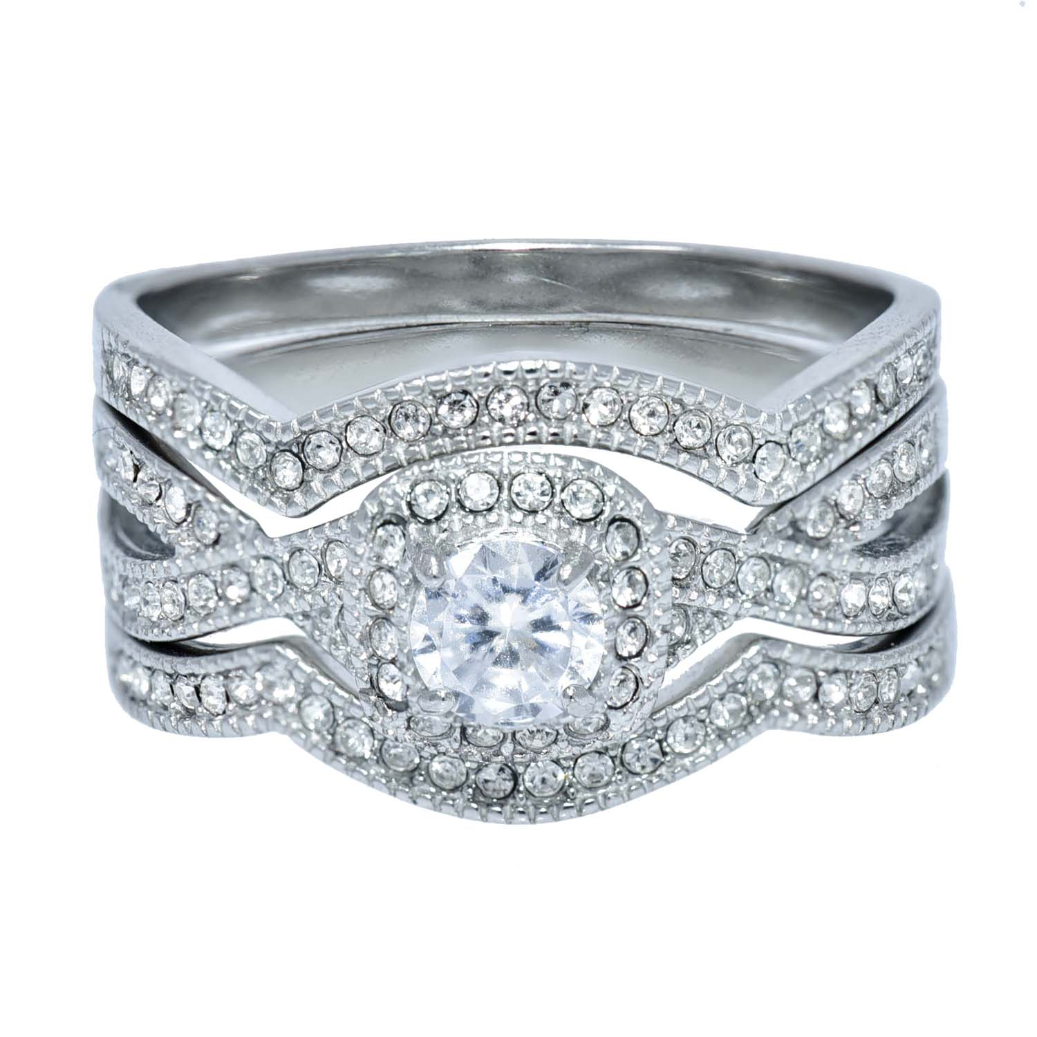 Stainless-Steel-Women-039-s-Infinity-Wedding-Ring-Set-Halo-Round-Cut-Cubic-Zirconia thumbnail 18
