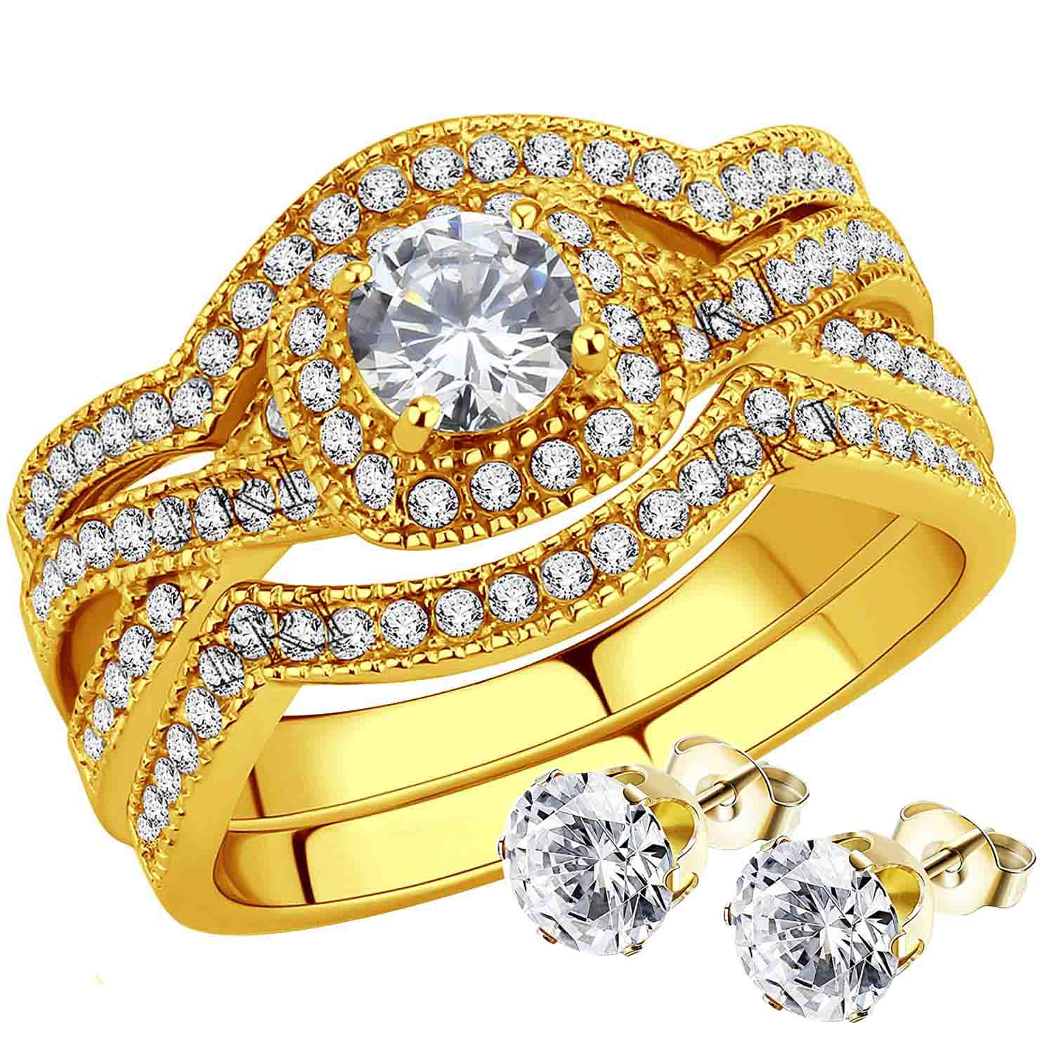 Stainless-Steel-Women-039-s-Infinity-Wedding-Ring-Set-Halo-Round-Cut-Cubic-Zirconia thumbnail 10