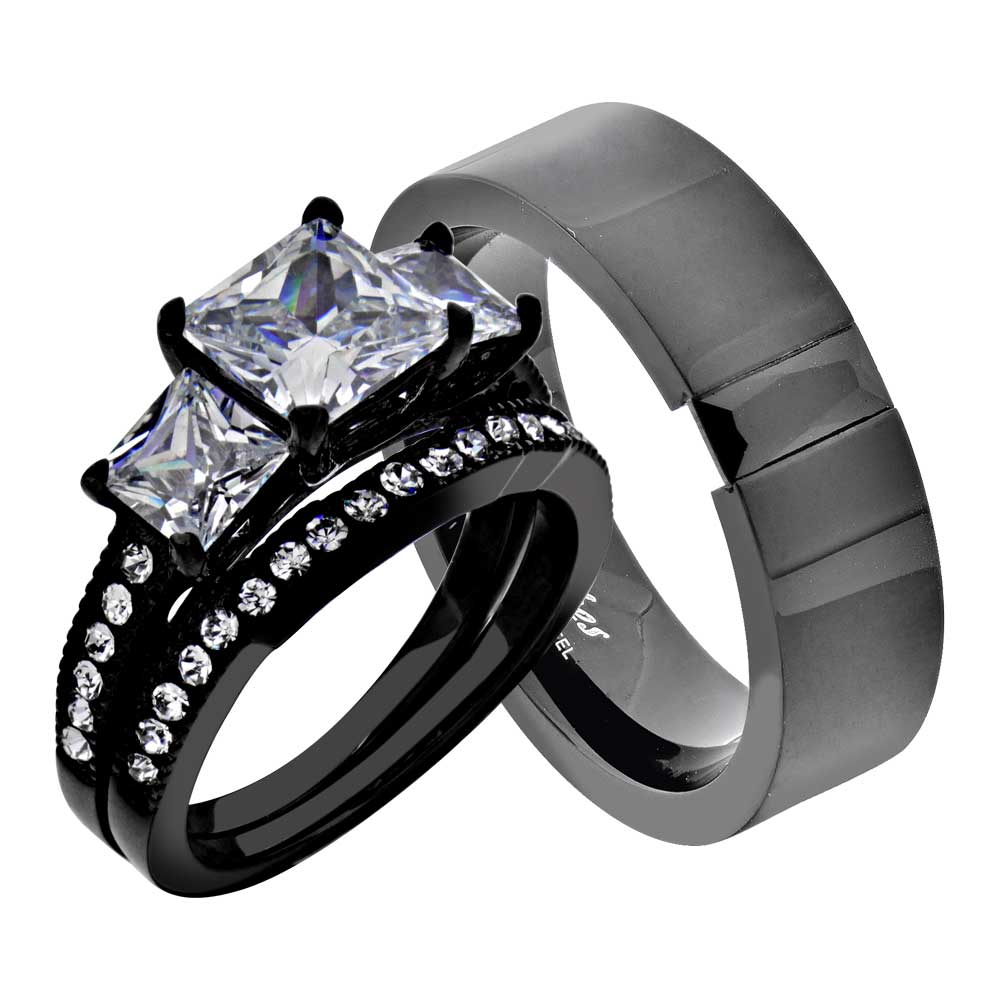 His Hers 3 Pc Men S Women S Stainless Steel Wedding Engagement Ring