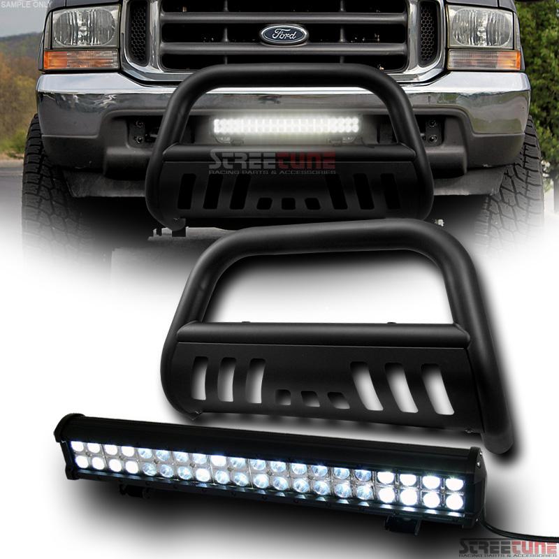 Matte Black Steel Bull Bar Bumper Guard+120W Cree LED Fog