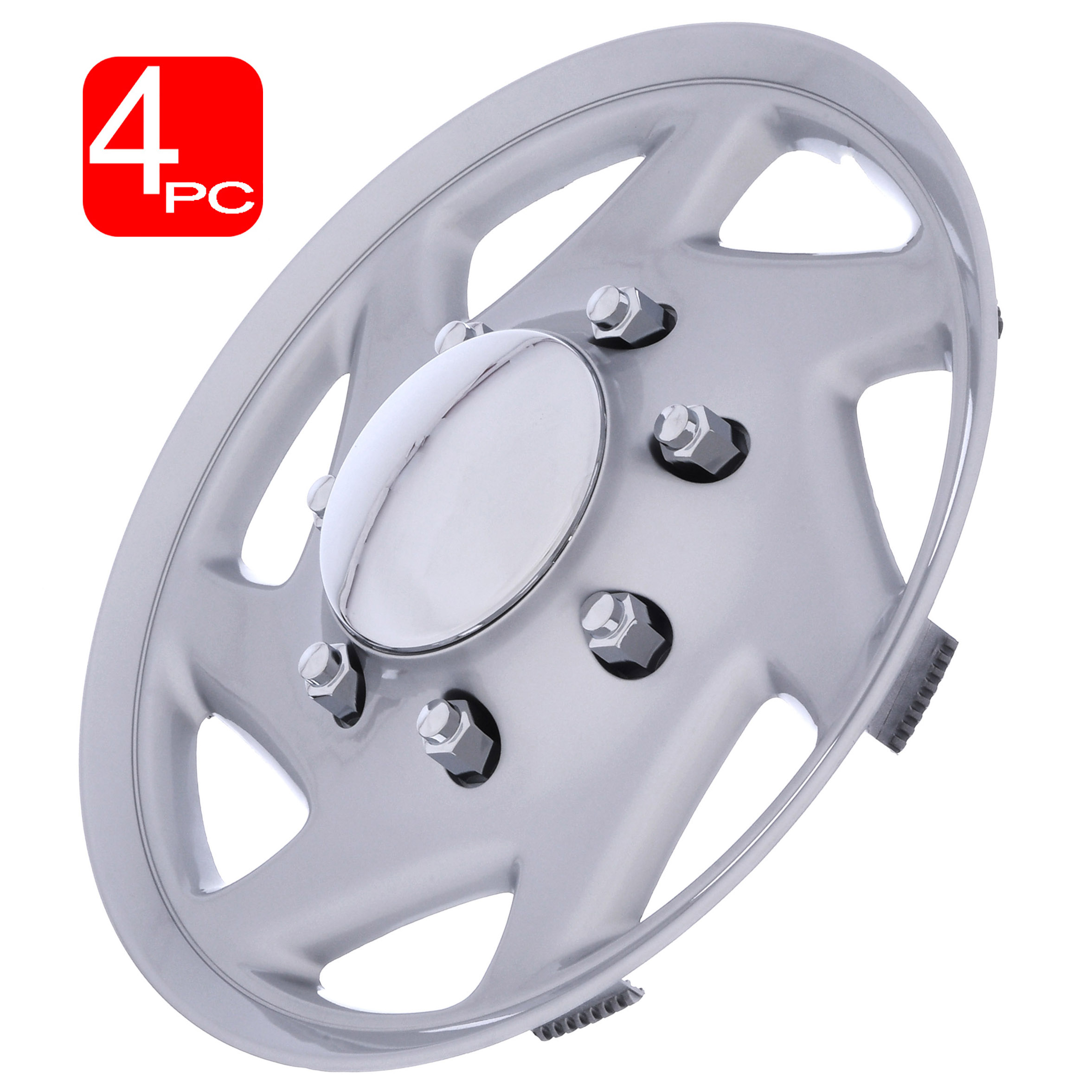 Cover Trend Aftermarket 16 Inch fits FORD TRUCK//ECONOLINE VAN -Replica Hub Caps Set of 4 Silver With Chrome Center and Trim Wheel Covers