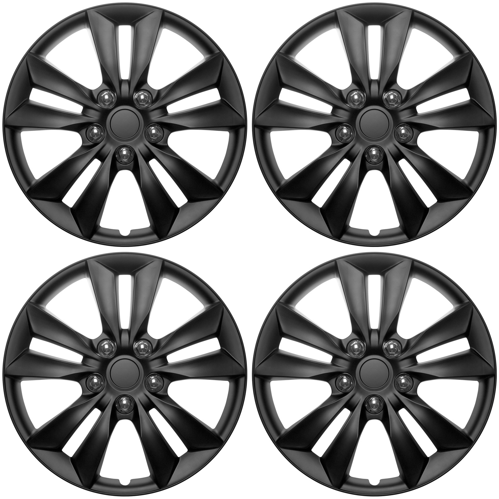 Set of 4 Upgrade Your Auto 17 Matte Black Hubcaps//Wheel Covers for Steel Wheels Rogue Style