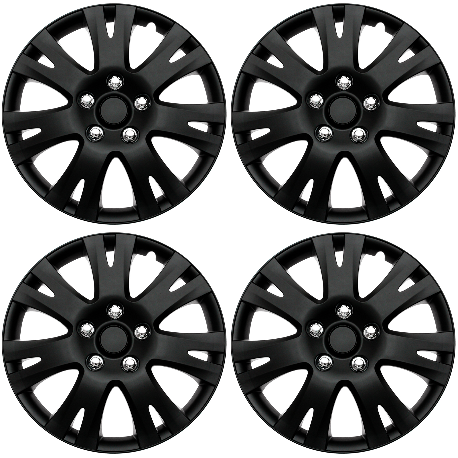 "4 Pc Set of 16"" Matte Black Hub Caps for OEM Steel Wheel Cover Center Cap Covers 643129815652 