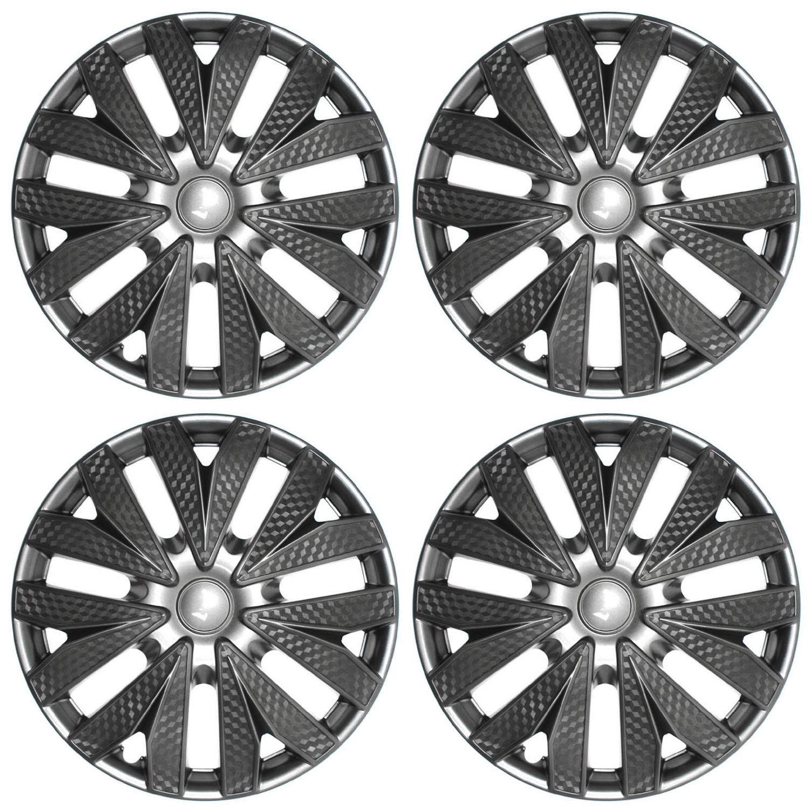 4pc hub cap carbon fiber gray gunmetal charcoal silver 15 wheel cover caps