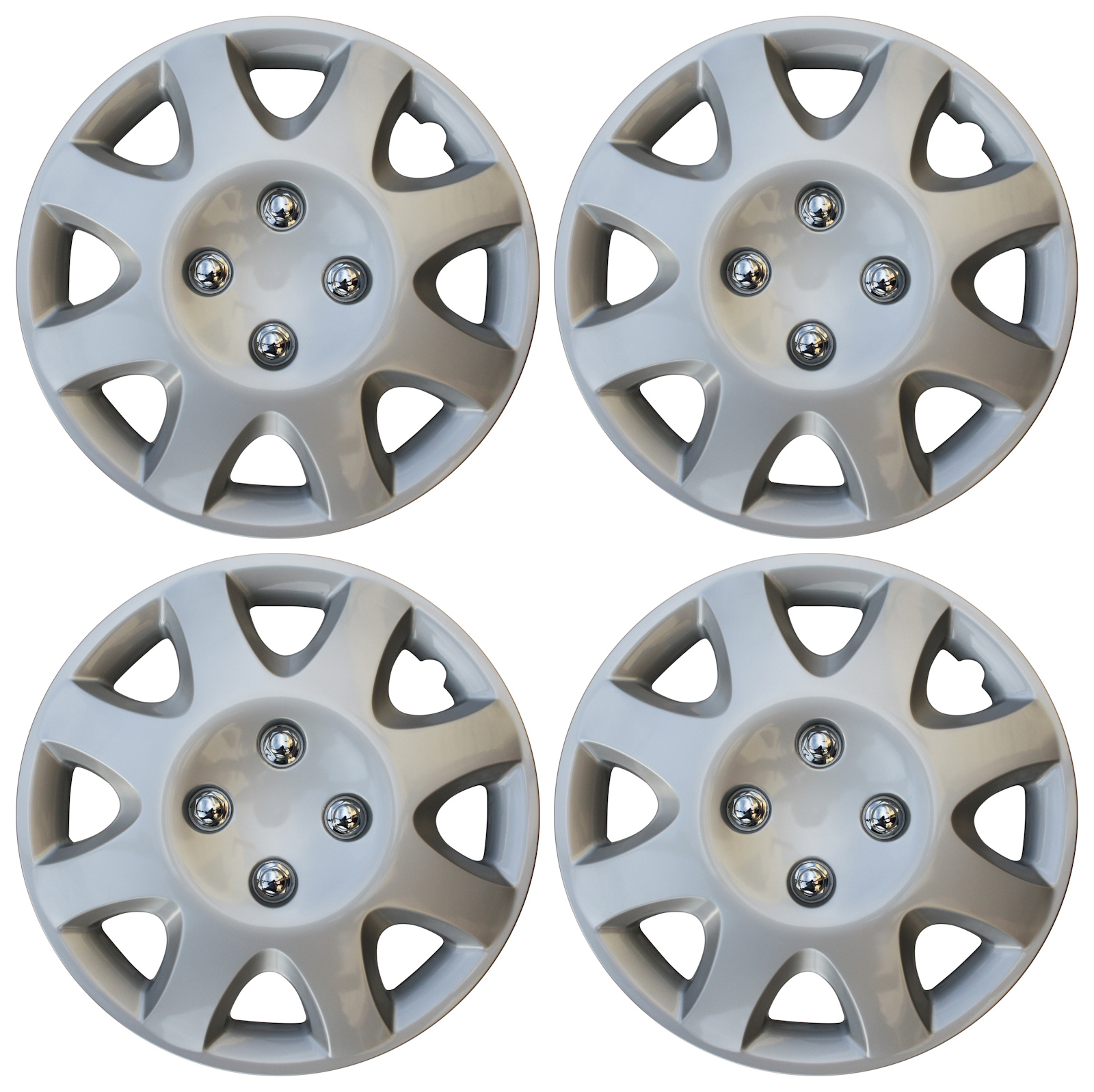 Details about BRAND NEW Hub Caps 4 PC Set ABS Silver 13