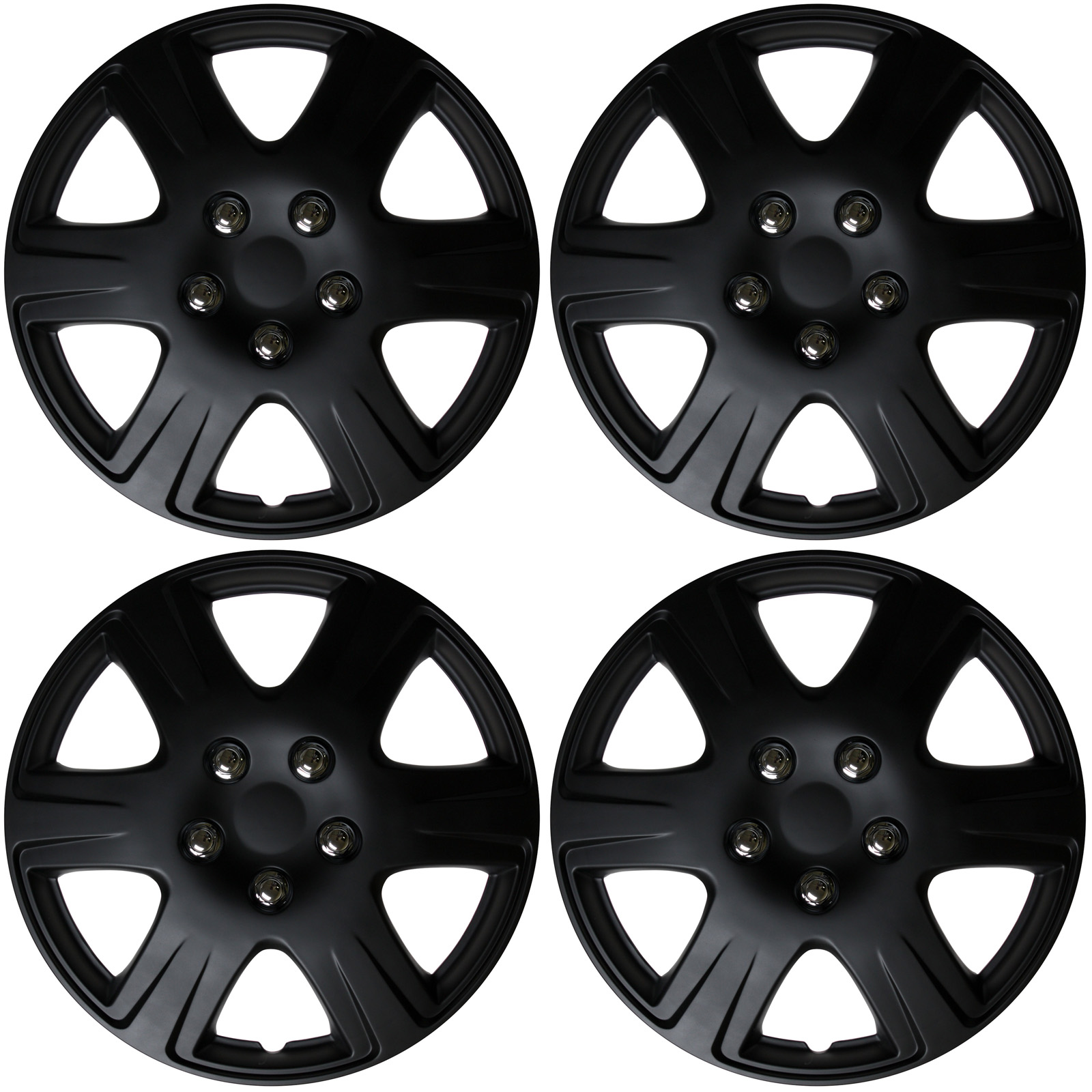 Qty 4 pc black matte hub caps fits 2005 2006 2007 toyota corolla 15 wheel cap