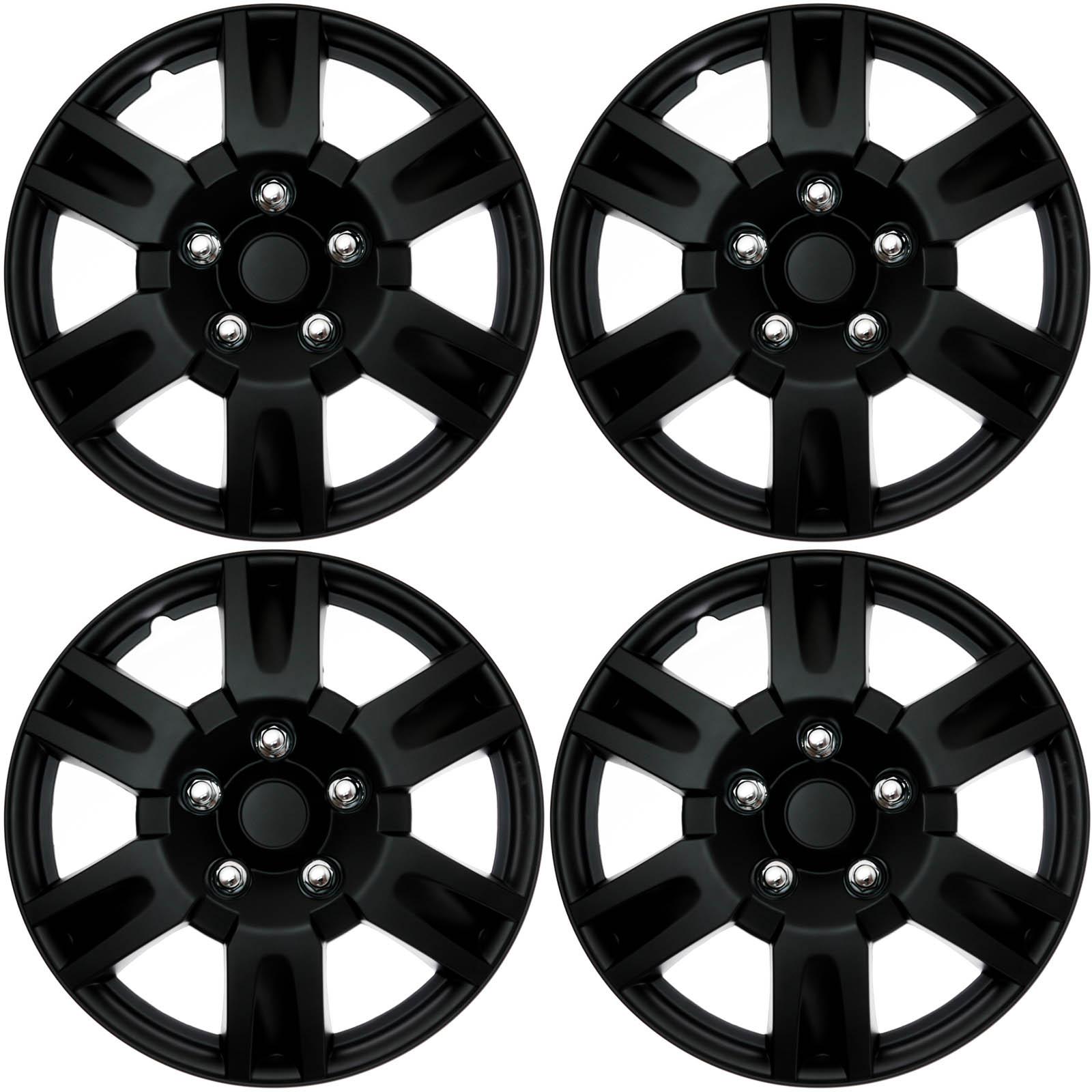4 Pc Set Of 15 Matte Black Hub Caps Full Lug Skin Rim Cover For Oem 2000 Mercury Sable Dohc Engine Internal Diagram Steel Wheel