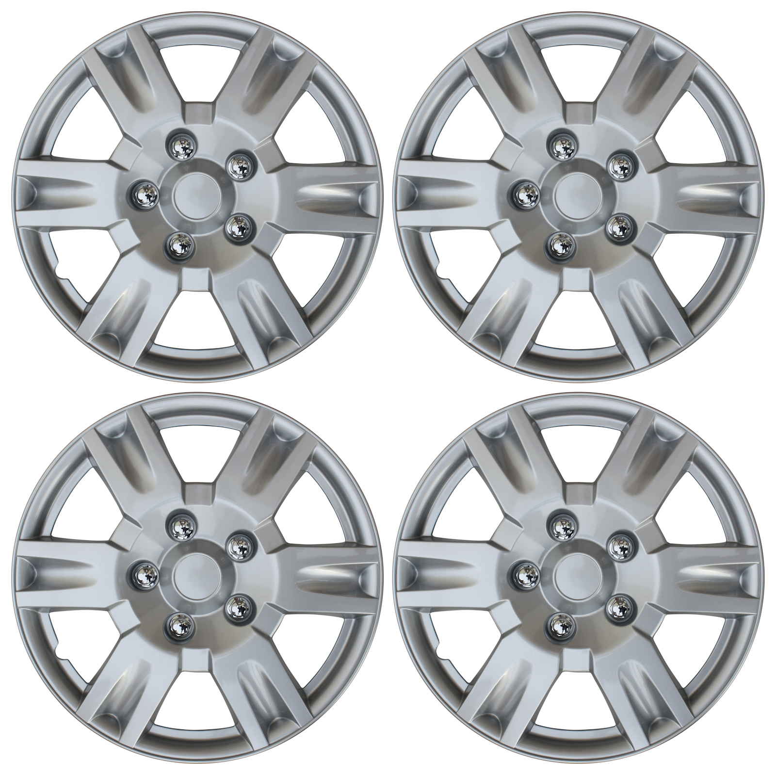 4 piece set silver lacquer hub caps fits 16 inch wheel cover skin covers cap
