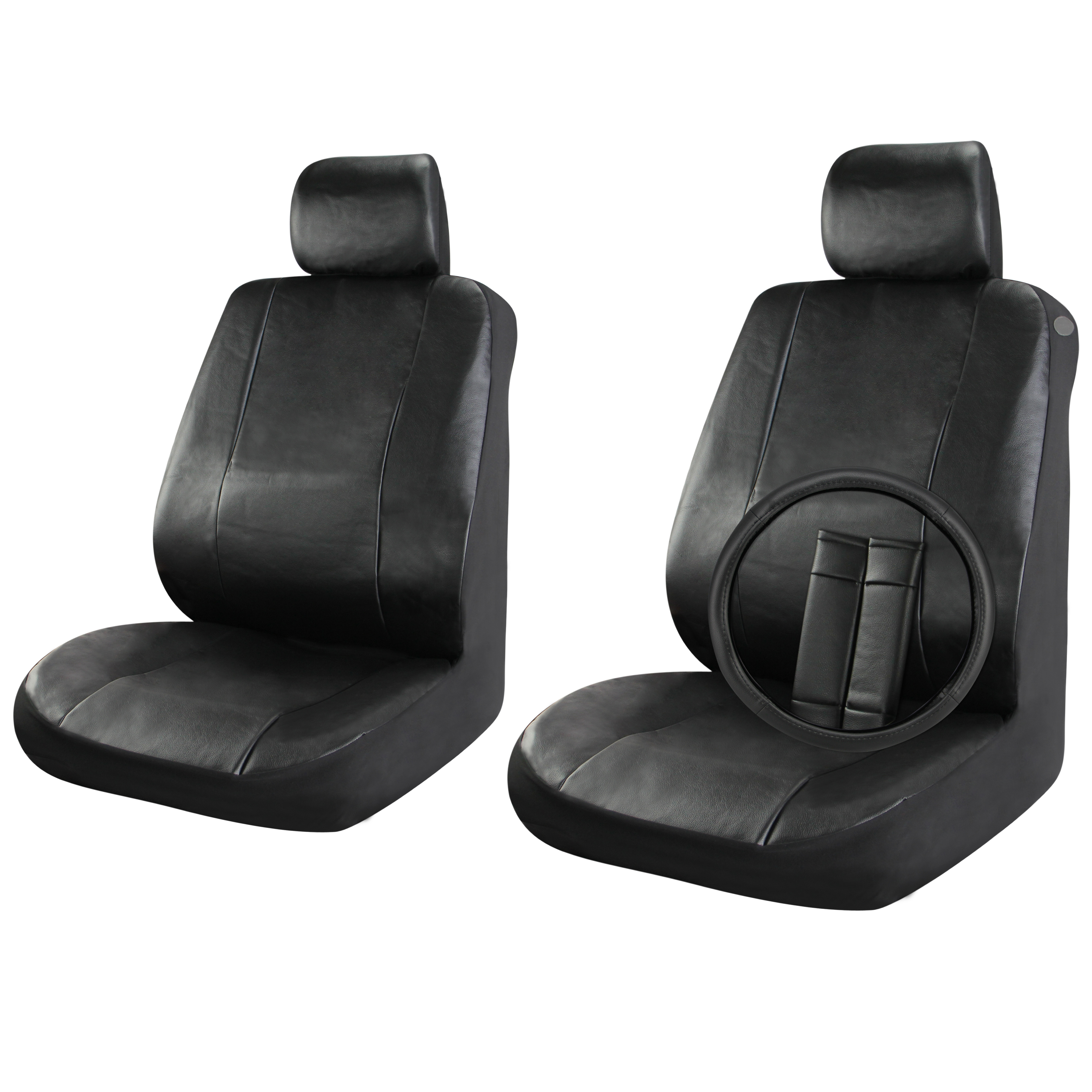 Heated Front Seats And Steering Wheel: Faux Leather Car Seat Covers Set Front Seats Solid Black