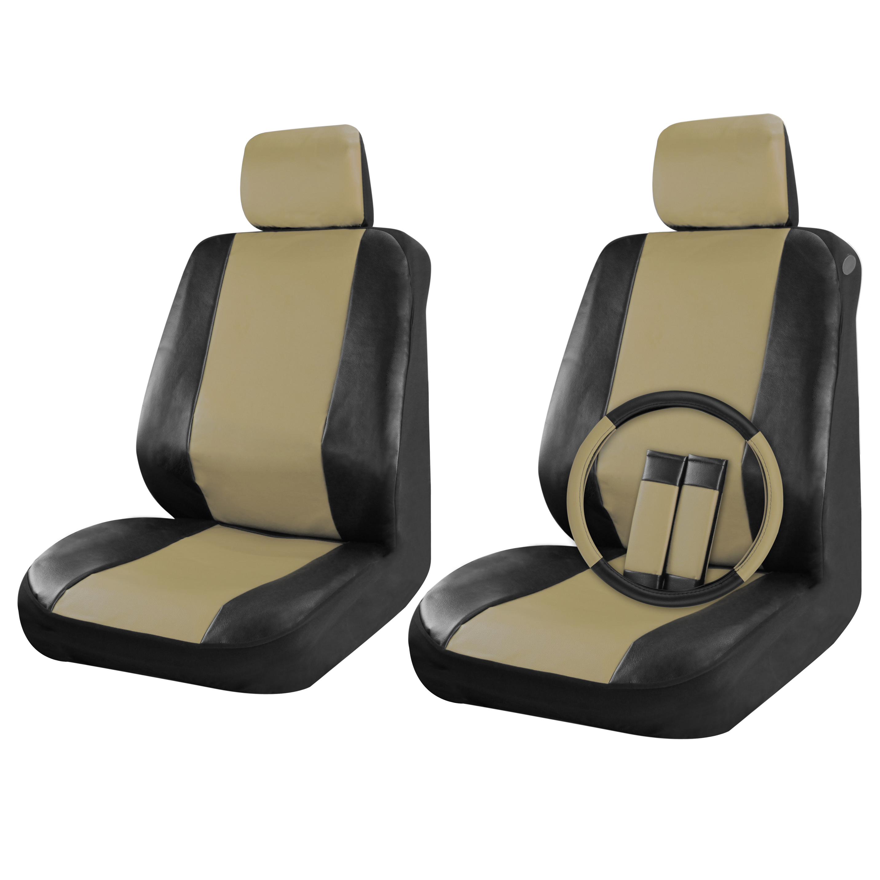Faux leather car seat covers black beige tan 9pc front - Car seat covers for tan interior ...