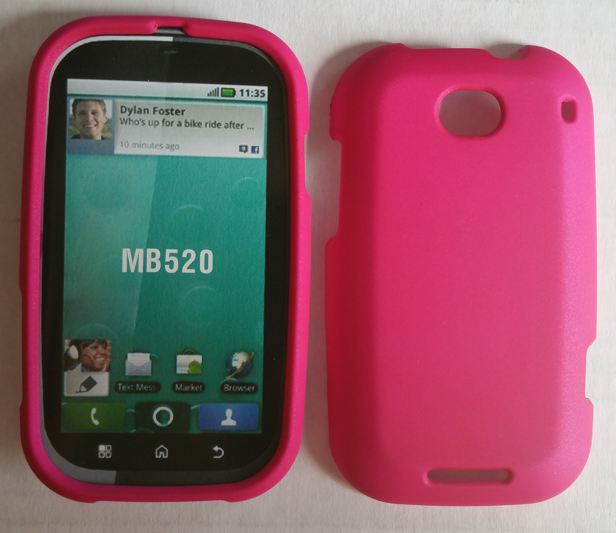 Offwire Soft Touch Snap-On Case for Motorola MB520 Bravo - Hot Pink