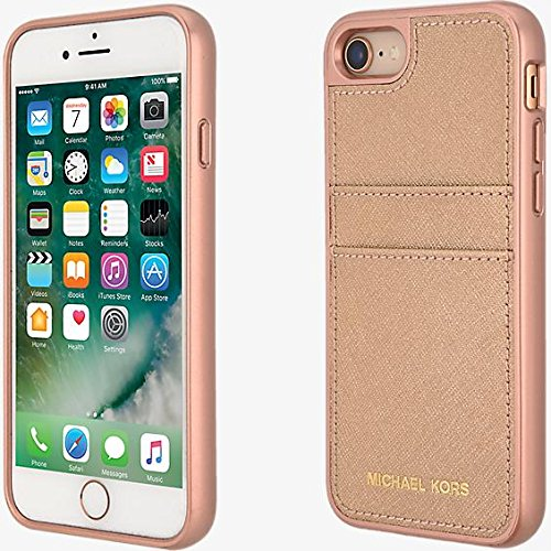 big sale 59499 2ba35 Michael Kors Saffiano Leather Pocket Case for iPhone 7, iPhone 8 - Rose Gold