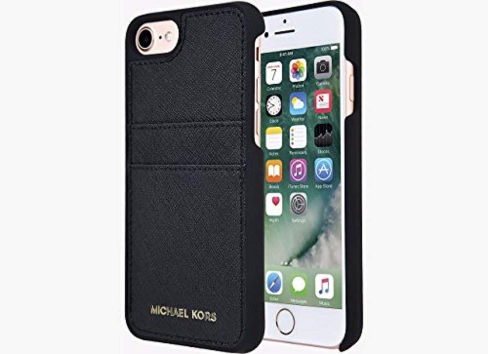 Original Michael Kors Saffiano Leather Pocket Case for iPhone 8  iPhone 7 -  Black