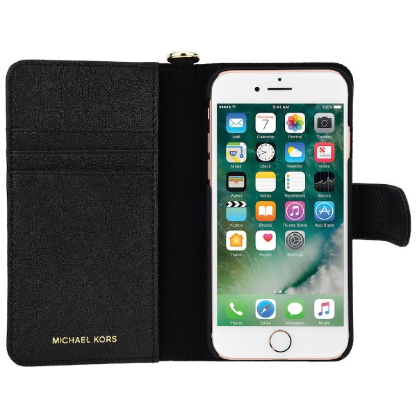 buy popular 00dea a2c06 Original Michael Kors Saffiano Leather Folio Case iPhone 8 Plus, 7 Plus, 6  Plus - Black