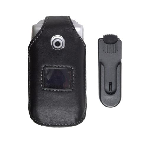 Swivel Clip Leather Case for Sony Ericsson W300 Z530 - Black