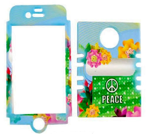 Rocker Series Snap-On Protector Case for Apple iPhone 4 / 4S (Peace Sign and Colorful Flowers)