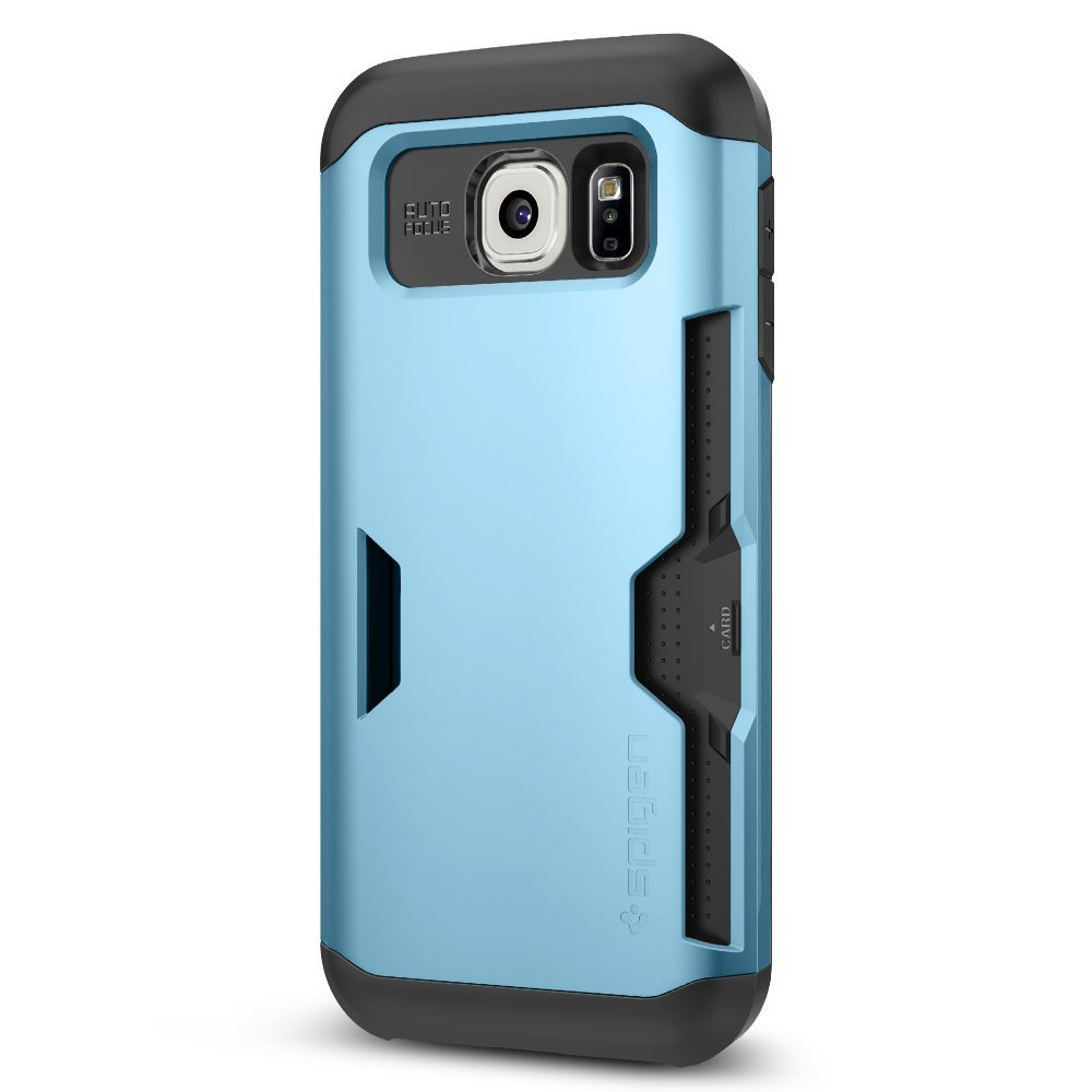 newest a81bd 8ad34 Spigen Inc. Slim Armor CS Case with Slim Dual Layer Wallet Design and Card  Slot Holder for Samsung Galaxy S6 - Mint