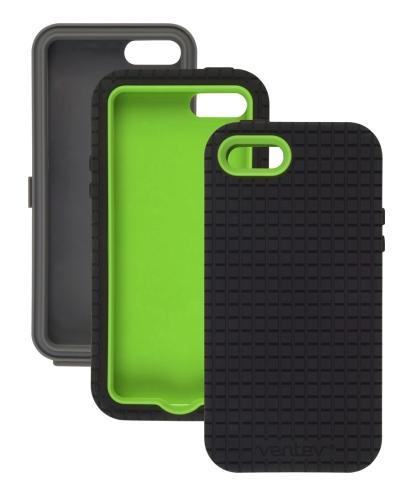 Ventev - CoreGridX Case for Apple iPhone 5/5S - Gray/Lime & Black Gel (Combo Pack)