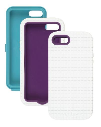 Ventev - Coregridx Combo Pack for Apple iPhone 5 - White Gel with Aqua & Purple Shells